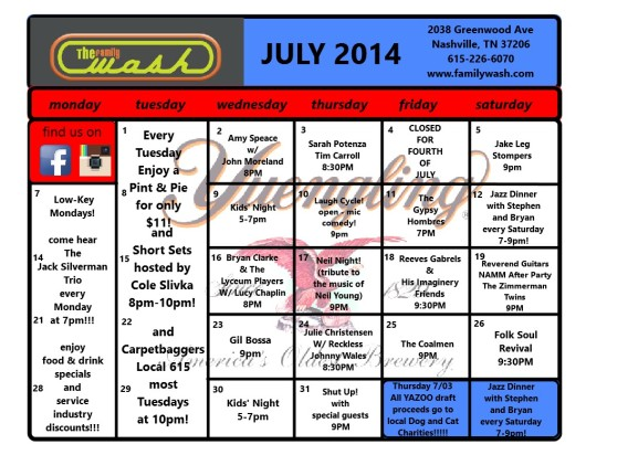 July 2014 Musical Happenings!!!